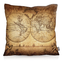 Kissenbezug, VOID, Weltkarte anno 1730 Outdoor Indoor globus erde antik weltbild karte 80 cm x 80 cm