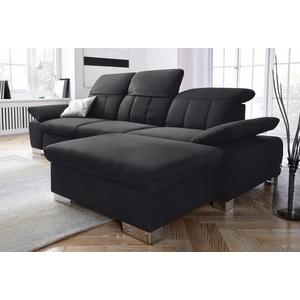 DOMO collection Ecksofa Milan, mit Rückenverstellung und Federkern, wahlweise mit Bettfunktion schwarz