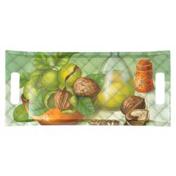 Lashuma Tablett Walnüsse, Melamin, Geschirrtablett mit Griffen, rechteckiges Kaffeetablett grün 41 cm x 19 cm x 3 cm