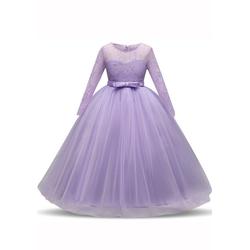 TOPMELON Abendkleid Lange Ärmel, Prinzessinenkleid, Spitze, Tüll lila 120