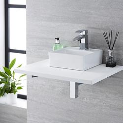 Kleines Aufsatz- oder Hängewaschbecken Eckig Halwell 28 x 28 cm aus Keramik, ideal für kleine Gäste WCs, von Hudson Reed