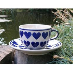 Tasse mit Untertasse, Keramik mit Herz, BSN s-219