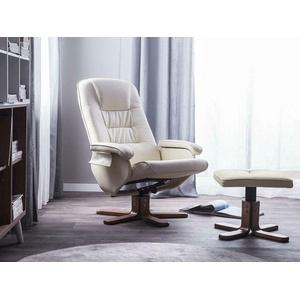 Leder Massagesessel Fernsehsessel Sessel Wohnzimmer creme weiss mit Massage NEU
