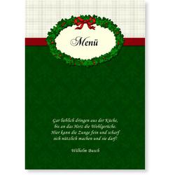 Karten Weihnachtsessen (10 Karten) selbst gestalten, Menü - Weihnachtskranz - Grün