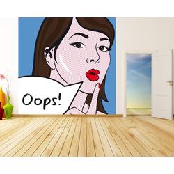 Bilderdepot24 Fototapete, Fototapete Pop Art Oops Lady, selbstklebendes Vinyl bunt 3 m x 3 m