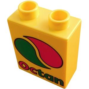 Lego Duplo 2 Stück Octan Motivstein in gelb Bildstein 1x2x2 Neu
