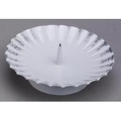 Taufkerzenhalter weiß/silber aus Eisen mit Dorn Ø 12 cm für Taufkerzen