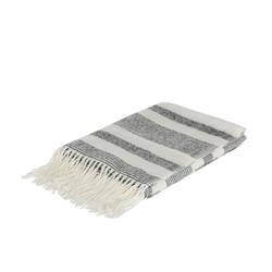 Wohndecke Kuscheldecke Plaid, Decke mit Fransen, grau-weiß, Sofadecke, Plaid Fleece hellgrau mit Fransen 130 x 170 cm, Wohndecke, J-line
