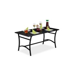 relaxdays Gartentisch Gartentisch rechteckig schwarz