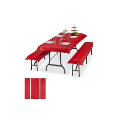 relaxdays Bierzeltgarnitur 6x Bierzeltgarnitur Auflage rot
