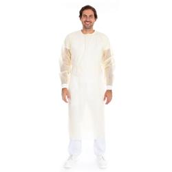 HYGOSTAR Schutzkittel mit Nackenbindeband aus PP, Hochwertiger Einmalkittel aus PP-Vlies mit PE-Teilbeschichtung, 1 Karton = 10 x 10 Stück = 100 Stück , gelb, XL