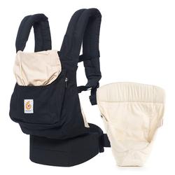 Ergobaby Babytrage Original - Black & Camel, Babytragen-Set inkl. Neugeboreneneinsatz Easy Snug Bauchtrage, Rückentrage, Hüfttrage