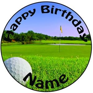 Personalisierter Golfball Im Loch Zuckerguss Kuchen Topper / Kuchendekoration - 20 cm Großer Kreis - Jeder Name Und Jedes Alter