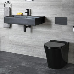 Stand WC & Wand-Waschbecken Set Keramik, Schwarz (Tiefspüler WC, 1-Loch Waschbecken) - Nox