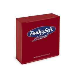 BulkySoft® Servietten LUXE, 1/4 falz, 3-lagig, Sehr saugfähige, vollflächig geprägte Serviette aus 100% Zellstoff, 1 Karton = 16 x 40 Servietten, Farbe: bordeaux