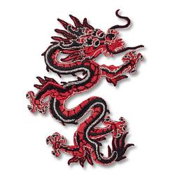 PRYM Applikation Asien, Drache, rot/schwarz, 100% Polyester, Zubehör, Applikationen