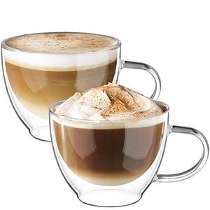 ecooe Doppelwandige Cappuccino Tassen Glaser Latte Macchiato Glaser Set 2-teiliges 350ml (Volle Kapazität) Trinkgläser Kaffeeglas φ8.5 * 10.5cm