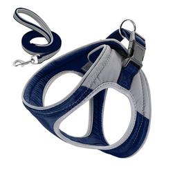 Rosnek Hunde-Geschirr Hundegeschirr Verstellbare Reflektieren Softgeschirr Katze Gepolstert Brustgeschirr + Leine, verstellbar von 33-39,36-45,42-50 blau L