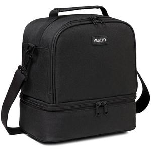 Lunchtasche Damen Herren, VASCHY Kühltasche Thermal Isoliertasche Weit Geöffnete Lunchbox Picknicktaschen für Arbeit Schule Reise Schwarz