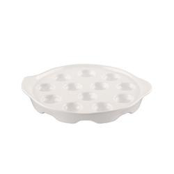 BigDean Vorspeisenteller Porzellan Schneckenpfanne Schneckenplatte mit Seitengriffen für 12 Schnecken, (1 Stück)