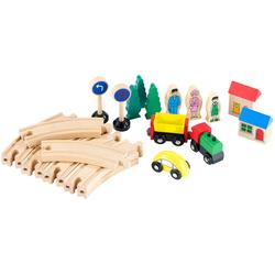 Kleines Holz-Eisenbahn-Set mit 25 Teilen