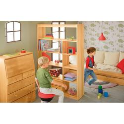 BioKinder - Das gesunde Kinderzimmer Raumteilerregal Lara, mit 9 Fächern und 2 Schubladen natur