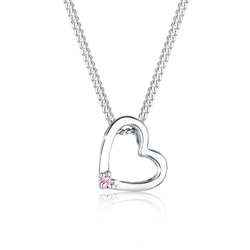 Elli Kette mit Anhänger Herz Anhänger Kristall 925 Silber, Herz rosa