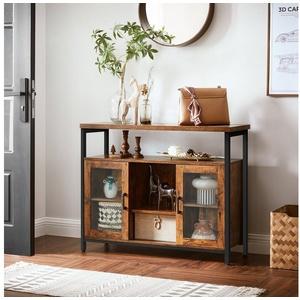 VASAGLE Kommode LSC095B01, Sideboard, Küchenschrank, Küche, Esszimmer, vintage braun