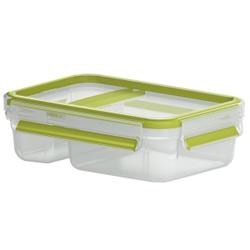 EMSA Clip & Go Joghurtbox, rechteckig, 600 ml , Yoghurt & Dip Box mit Knick-Ecke, Farbe: transparent / grün