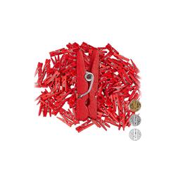 relaxdays Streudeko Holzklammern Mini 144er Set rot
