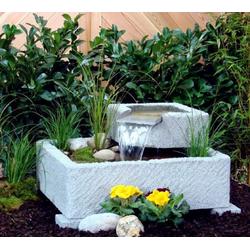 Terrassen- und Gartenbrunnen Vigdis, Granitwerkstein hellgrau gestrahlt