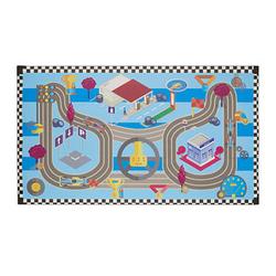 relaxdays Spielteppich Rennstrecke blau/bunt 140,0 x 80,0 cm