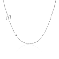 Personalisierbare Damenkette aus 14K Weißgold Diamant