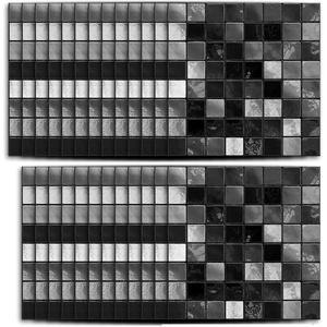 Hiser 25 Stück Küchenrückwand Fliesenaufkleber, Klassisch Mosaik Stil Wasserdicht Ölfest Stickerfliesen Marmor Deko Selbstklebende für Badezimmer Wohnzimmer Dekoration (Schwarz,10 x 10 cm)