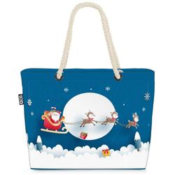 VOID Strandtasche (1-tlg), Weihnachtsmann Schlitten Rentiere Beach Bag Rentiere Nikolaus Weihnachtsmann Sc