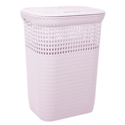 ONDIS24 Wäschekorb Ondis24 Wäschekorb Wäschepuff Wäschetruhe Sortierkorb belüftet in Rattan Optik aus Kunststoff 60 Liter rosa
