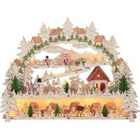 Star LED-Fensterleuchter Village 14 LED Material: Holz, Farbe: natur/bunt, ca. 34 cm x 45 cm Trafo,