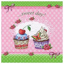 Linoows Papierserviette 20 Servietten Gastronomie, Süßer Tag mit Törtchen, Motiv Süßer Tag mit Törtchen & Rosen