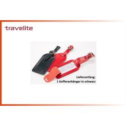 travelite Freizeittasche schwarzer Kofferanhänger, Adressschild, Leder