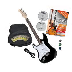 Rocktile Pro ST3-BK/RW-L Linkshänder E-Gitarre Black + Zubehör