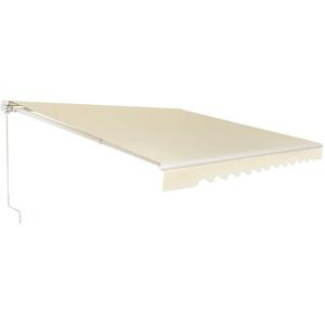 COSTWAY Markise mit kurbel, Balkonmarkise Sonnenschutz, Gelenkarmmarkise Sonnenmarkise Terrassenmarkise, Klemmmarkise für Balkon und Veranda (400x250cm, Beige)