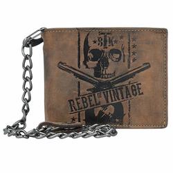 Greenburry Vintage Rebel-Skull Portfel łańcuchowy  skórzany 12,5 cm nut brown