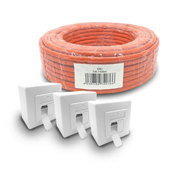 ARLI Netzwerk-Adapter, Cat7 Verlegekabel 50 m S/FTP PIMF Halogenfrei Netzwerkkabel + 3x Cat6a Netzwerkdose Set