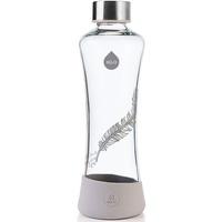 EQUA Glasflasche Feather 0,55l - Trinkflasche aus Borosilikatglas 550 ml - Designer Flasche für unterwegs - Sportflasche