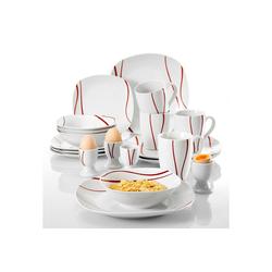 MALACASA Tafelservice FELISA (20-tlg), Porzellan, Geschirrset aus Porzellan mit rotes Streifen