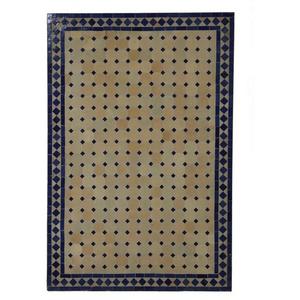 Casa Moro Gartentisch Marokkanischer Mosaiktisch 120x80 cm rechteckig blau terrakotta mit Gestell H 73 cm Dekorativer Gartentisch Esstisch Balkontisch Bistrotisch Kunsthandwerk aus Marrakesch MT2120, Handmade