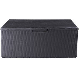 Ondis24 Kissenbox Fino Sitztruhe 340L Auflagenbox regensicher Gartenbox abschließbar mit Gasdruckhebern (anthrazit)