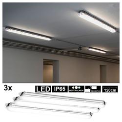 etc-shop Außen-Deckenleuchte, 3er Set LED Wannen Decken Lampen Werkstatt Keller Strahler Feucht-Raum Lampen