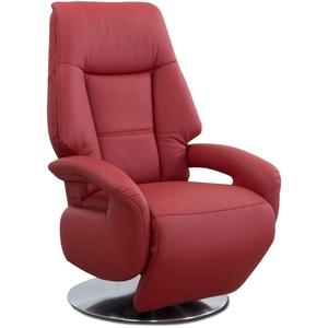 Cavadore Ledersessel Edinburgh / Fernsehsessel mit manuell verstellbarer Relaxfunktion / 74 x 114 x 77 / Echtleder: rot