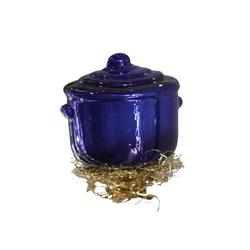 INGE-GLAS® Christbaumschmuck INGE-GLAS Weihnachts-Clip Koch-Topf blau (1-tlg) blau